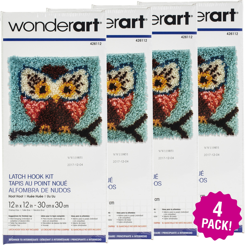 "Caron Wonderart Latch Hook Kit 12""X12"", Hoot Hoot, Multipack of 4"