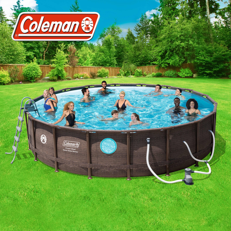 Coleman Power Steel Vista Series 18 x 48 Frame Swimming Pool Set w ...