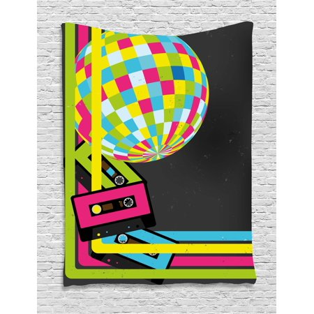 Popstar Party Tapestry, Retro Party Theme Disco Ball 80's Style Audio Cassette Tapes Colorful Stripes, Wall Hanging for Bedroom Living Room Dorm Decor, Multicolor, by Ambesonne - Disco Theme