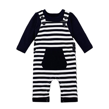 Milk Man Uniform (StylesILove Baby Boy Chic Shirt and Lined Overalls 2-pc Clothing Set (18-24 Months, Solid Top)
