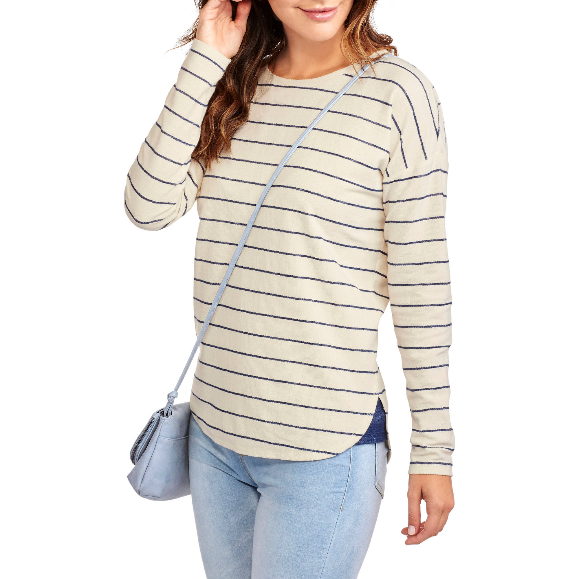 Faded Glory Women's Long Sleeve Striped French Terry Pullover