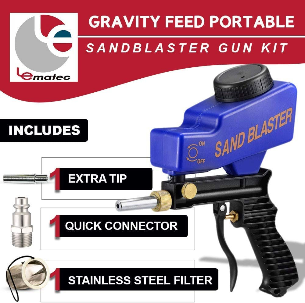 AS118 Blue Sandblaster with ZN312 Inline Air Compressor Filter