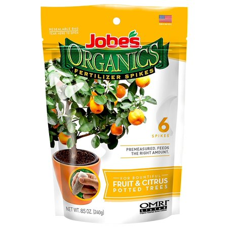 Jobe's Organics Fruit & Citrus Tree Fertilizer Spikes, 3-5-5 Time Release Fertilizer for all Container or Indoor Fruit Trees, 6 Spikes per Package,.., By Jobes (Best Indoor Fruit Trees)