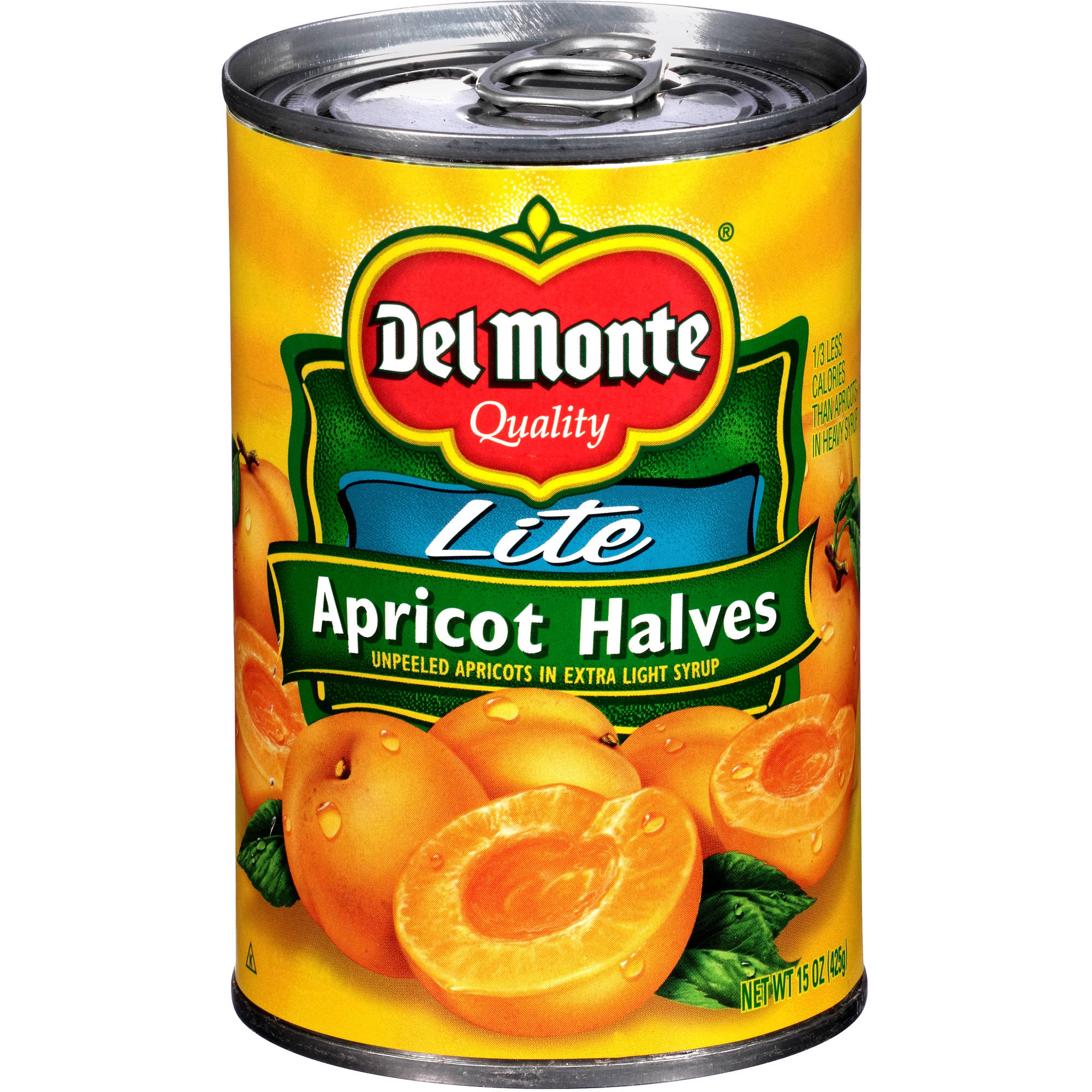 Del Monte Lite Apricot Halves Unpeeled Apricots in Extra Light Syrup, 15 oz