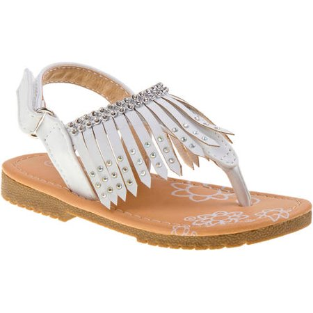 b89e4e0f82ef46 Petalia Little Girls White Glitter Stud Fringe Detail Sandals - Walmart.com