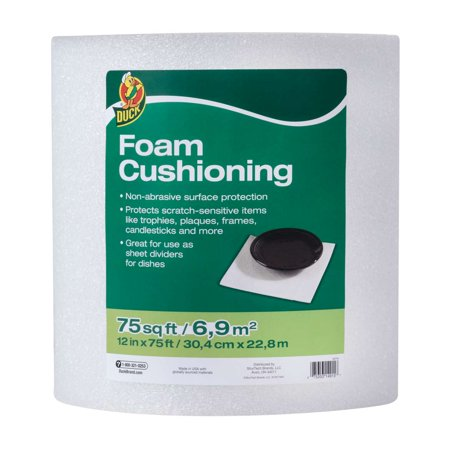 Duck Brand Foam Cushioning Roll, 12 in. x 75 ft., White,