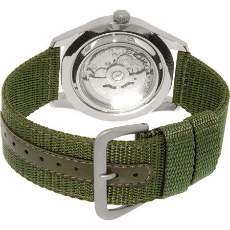 026eb7d75f4 Seiko Men s 5 Automatic SNZG09K Green Nylon Automatic Fashion Watch - image  1 ...