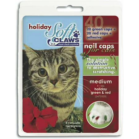 Soft Claws Nail Caps for Cats Green & Red, Large 40ct - Halloween Claw Nails