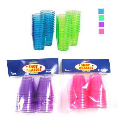 24 Shot Glasses Hard Plastic 1 Oz Mini Wine Glass Party Cups Barware Catering ! - Plastic Shot Cups