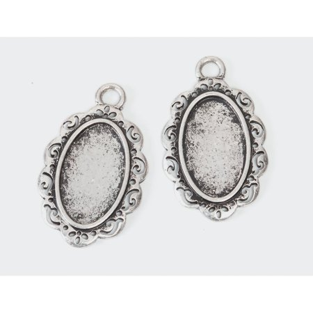 Frame Charms: Oval, Antique Silver, 26 x 36mm - Walmart.com