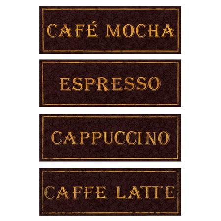 Vintage Paris Cafe Signs; Cappucino, Espresso, Caffe Latte, Caffee Mocha; Kitchen Decor; Four 18X6 Poster