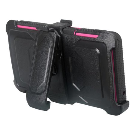 ZTE Majesty Pro Case, ZTE Majesty Pro Plus Case with Built-in [Screen Protector] Heavy Duty Full-Body Rugged Holster Case [Belt Clip][Kickstand] For ZTE Majesty Pro/Majesty Pro Plus, Hot Pink - image 5 of 6