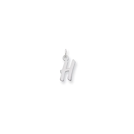 Sterling Silver Medium Initial H Charm (0.8in long x 0.4in wide)