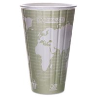 Eco-Products EP-BNHC16-WD World Art Insulated Compostable Hot Cups  16 oz.  Light Green  600-Carton