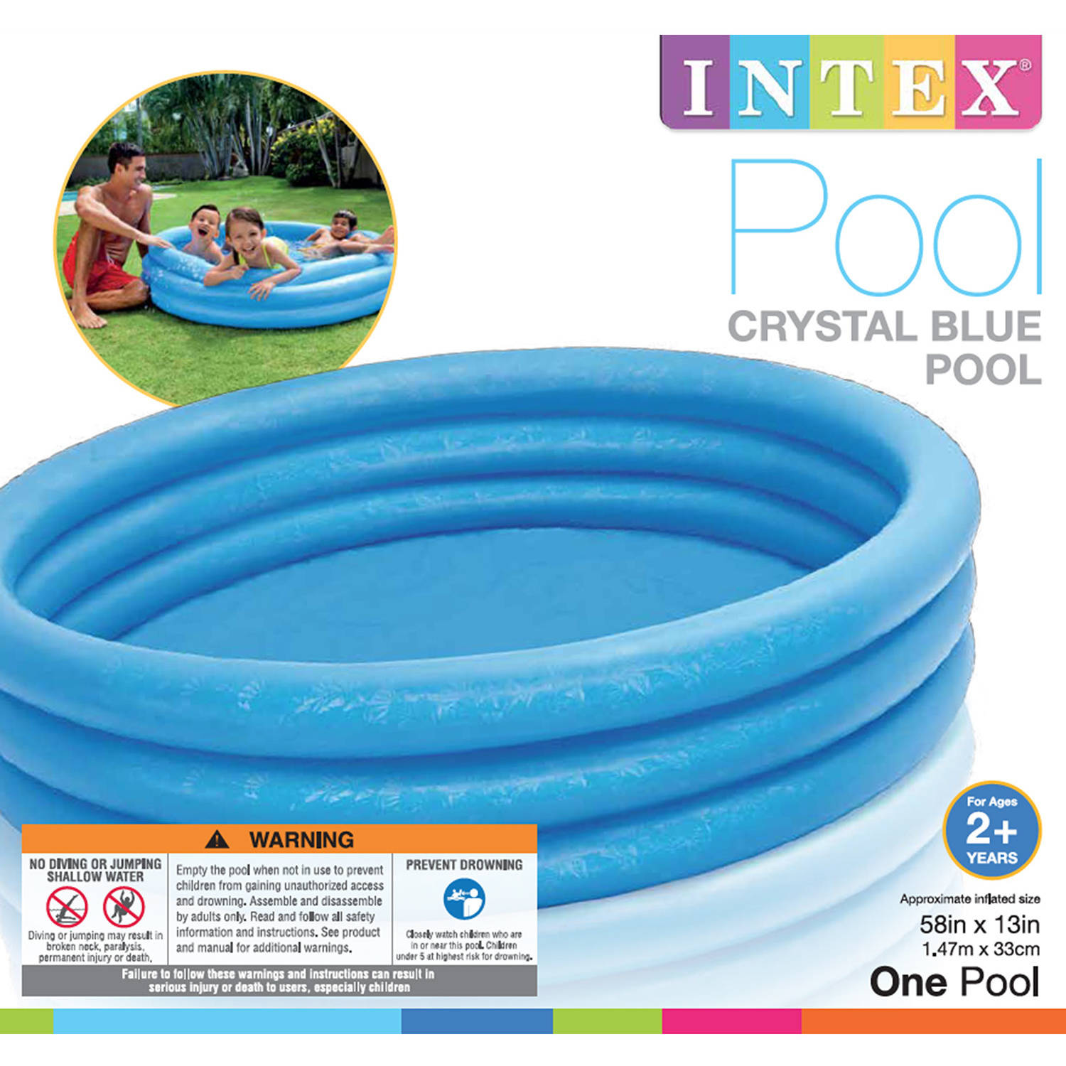 Summer Fun Swimming Intex Crystal Blue Inflatable Pool 66 x 15 New Sealed Age 2