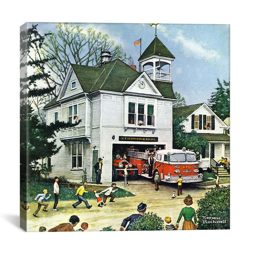 iCanvas 'The New American LaFrance is Here (Firehouse)' by Norman Rockwell Painting Print on Wrapped Canvas