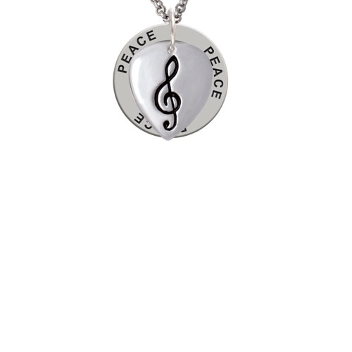 Large Clef on Guitar Pick Peace Affirmation Ring Necklace
