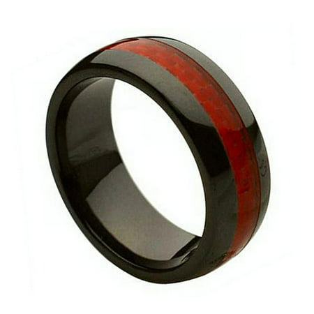 8mm - For men or Ladies Black with Red Carbon Fiber Inlay Ceramic Wedding Band Ring](Red Wedding Ring)