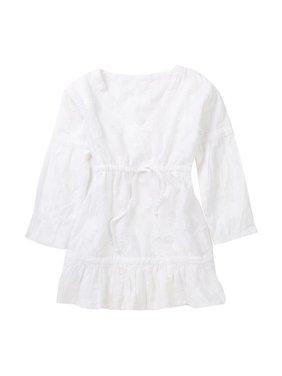 Azul Little Girls White Ruffle Hem Long Sleeve Cotton Shanti Cover Up Tunic 2
