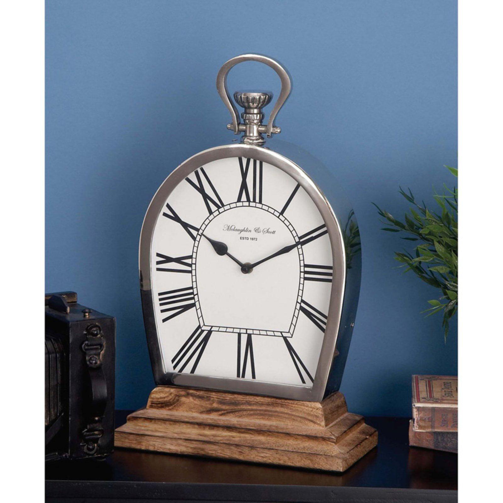 Stunning Steel Wood Table Clock by Benzara