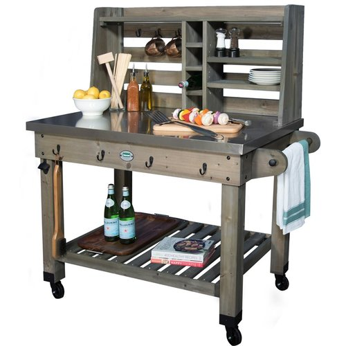Backyard Discovery Barnwood Bar Serving Cart by