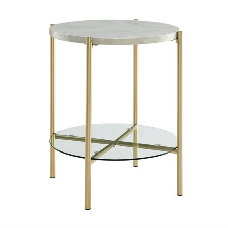 20 inch Round Side Table with White Faux Marble and Gold - Round Butterfly Leg Table