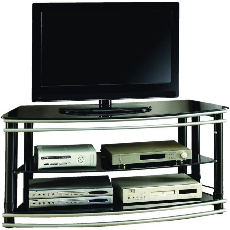 Curved End Console - Coaster Company Black and Silver Curved 48