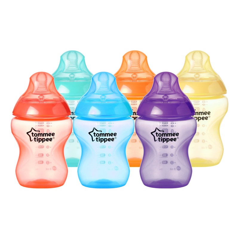Tommee Tippee Closer to Nature Fiesta Fun Time Baby Bottles, 9 ounce, 6 pack