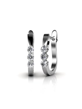 d93495509 Product Image Cate & Chloe Amaya Adventurous 18k White Gold Hoop Earrings w/ Swarovski Crystals, Sparkling