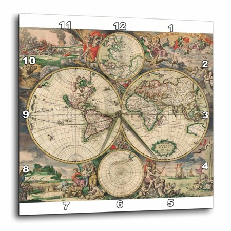 3dRose World Map 1689 - Wall Clock, 15 by 15-inch ()
