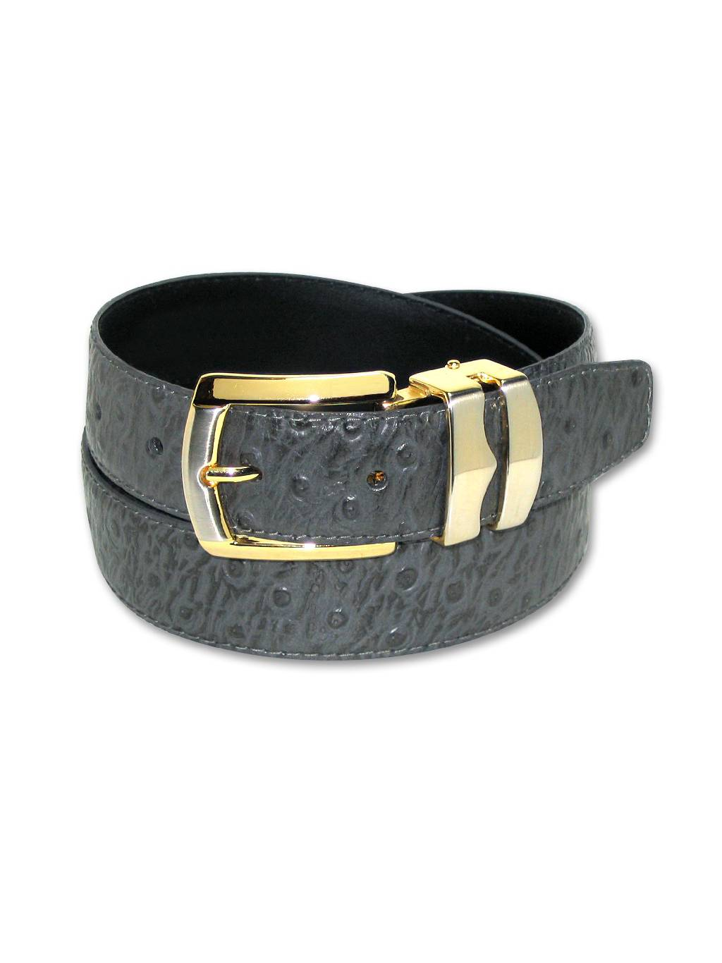 Reversible Belt Bonded Leather with Removable Gold-Tone Buckle BLACK//Charcoal