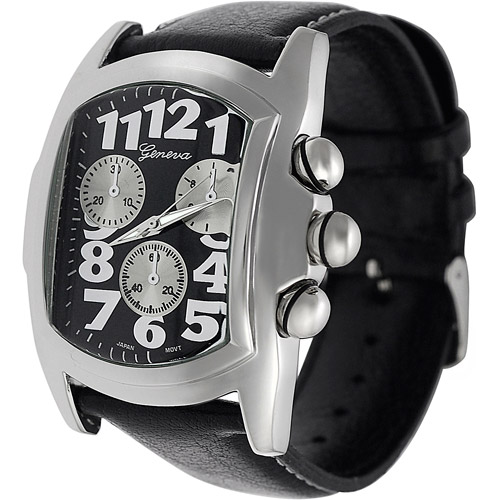 Aktion Men's Watch, Black Leather Band