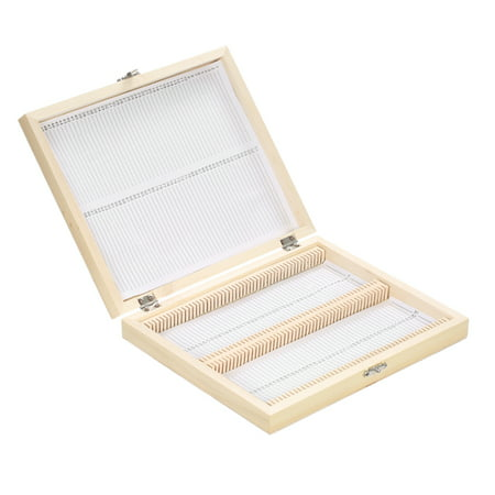 KKmoon 100-Places Wooden Slide Storage Box with Numbered Slots Contents Sheet for Prepared Microscope Slides - Containers For Sweets