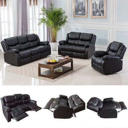 Awe Inspiring Costway Black Motion Sofa Loveseat Recliner Living Room Bonded Leather Furniture One Set Gmtry Best Dining Table And Chair Ideas Images Gmtryco