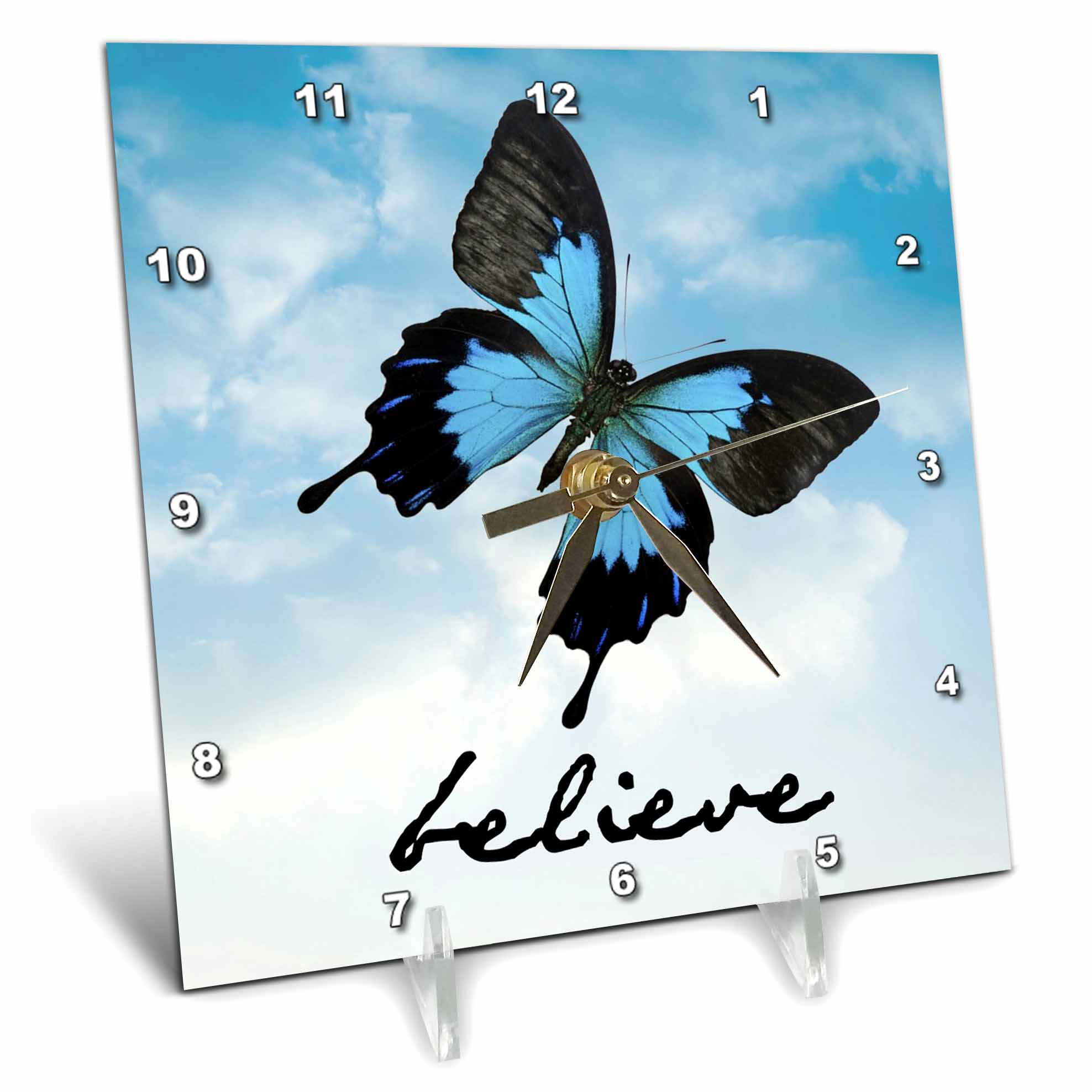 3dRose believe black lettering with picture of butterfly on sky background, Desk Clock, 6 by 6-inch by 3dRose