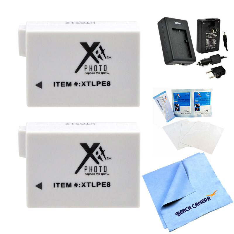 2x LP-E8 Battery & Travel CH-LPE8 Charger 5 pc Professional Kit Canon EOS REBEL T5i EOS REBEL T4i EOS REBEL T3i EOS REBEL T2i EOS REBEL X6i EOS REBEL X5 Kiss 550D