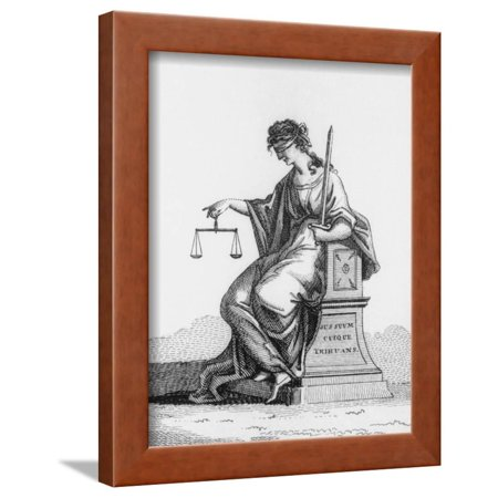 A Depiction Of Woman Holding Scales Justice Framed Print Wall Art