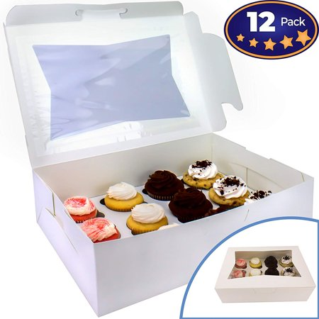Pro-Quality Bakery Boxes for Cupcakes with Display Window and Cupcake Inserts 12 Pack. Each Recyclable, Bright White Box Displays 1 Dozen Cup Cakes. Ready to Customize for Your Fundraiser or Bake Sale - Cupcake Boxes With Inserts