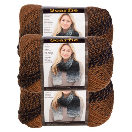 Lion Brand (3 Pack) Scarfie Acrylic & Wool Soft Yarn for Knitting Crocheting Bulky #5