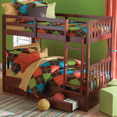 Harriet Bee Eichorn Twin over Twin Bunk with Built-In Storage Drawers