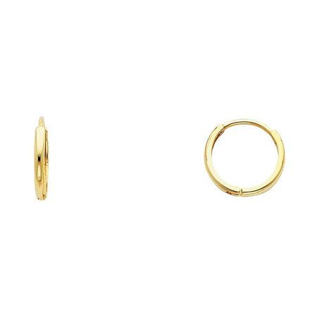 14k Solid Italian Yellow Gold 2 mm Plain Huggies Hoop Earrings 11 mm -
