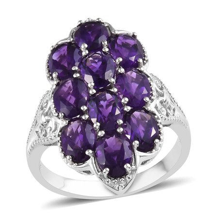 Cluster Ring 925 Silver Platinum Plated Oval Amethyst Ct 5.8