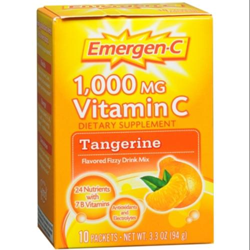Emergen-C 1,000 mg Vitamin C Drink Mix Packets, Tangerine 10 ea (Pack of 2)
