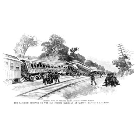 Railroad Accident 1890 Ndisaster On The Old Colony Railroad At Quincy Massachusetts Wood Engraving From An American Newspaper Of 1890 Rolled Canvas Art     24 X 36