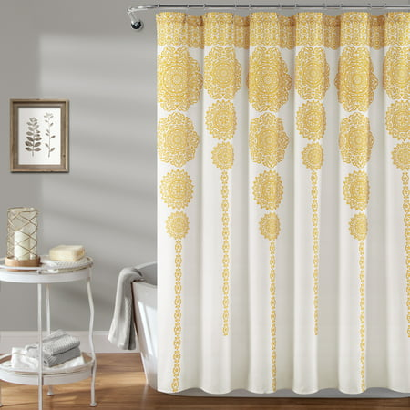 Stripe Medallion Shower Curtain Yellow - Lush Décor