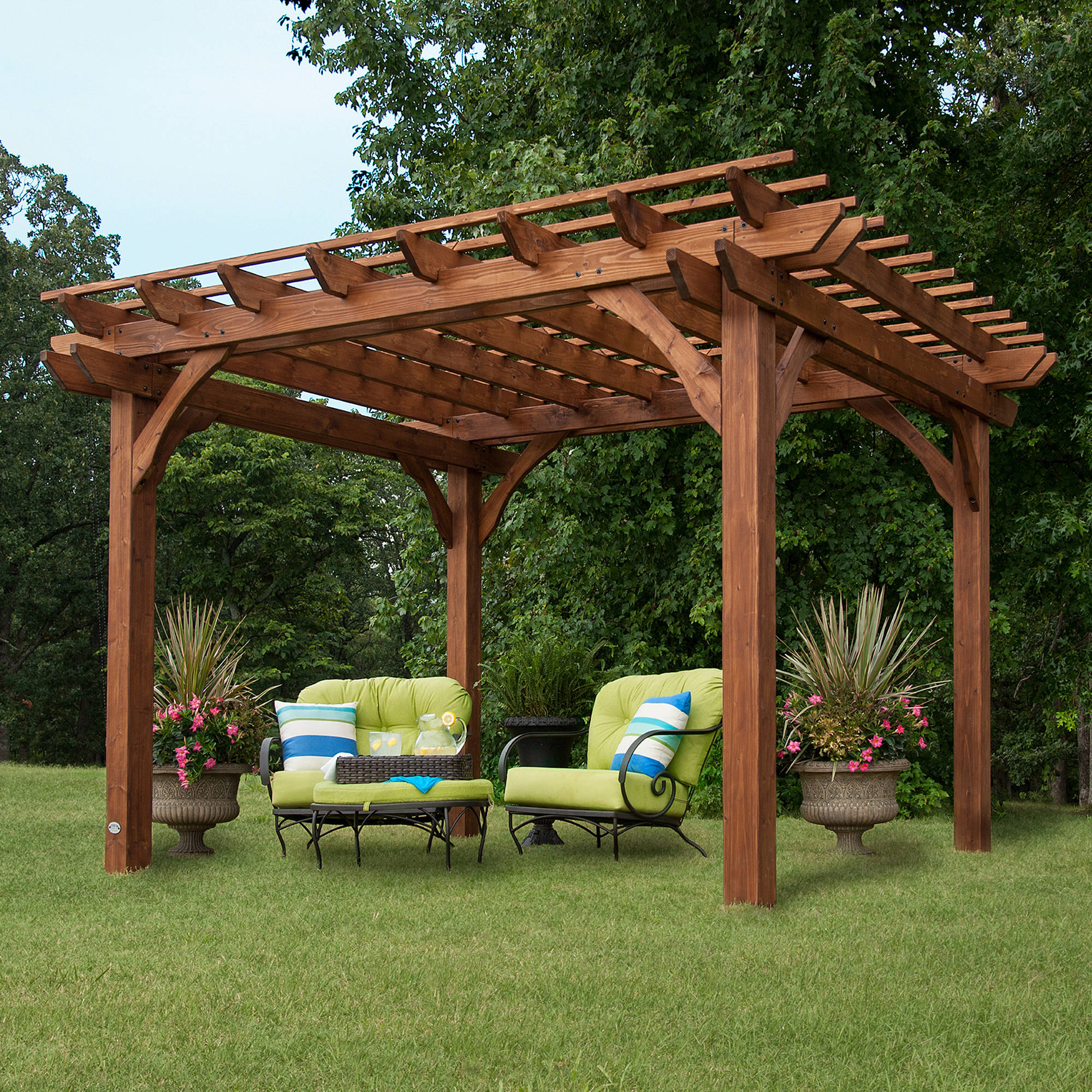 Backyard Discovery 12' x 10' Cedar Pergola, Brown by Leisure Time Products