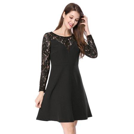 Unique Bargains Women's A-Line Semi Panel Lace Dress Black (Size S / 6)