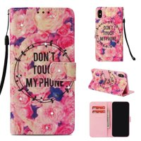 iPhone XS Max Case, iPhone XS Max 2018 Case, Allytech 3D PU Leather Protective Cover & Pocket Lanyard Wallet with Cards Holder, Support Kickstand Slim Case for Apple iPhone XS Max, Pink Flower