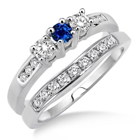 2 Carat Round Cut Real Sapphire and Diamond Bridal Wedding Ring Set with Engagement Ring and Wedding Band in 18k Gold Over Silver (Bridal Ring Sets With Sapphires)