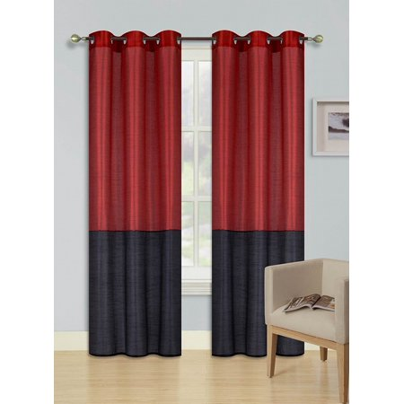 1pc RED BLACK HEIDI Faux Silk Drape Panel Top Chrome Metallic Grommet Window Curtain Treatment Drape 2 Shade 37 wide x 63 length